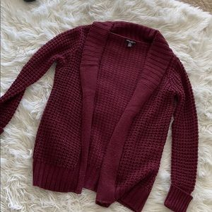 Maroon thick cable knit cardigan